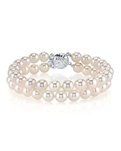 14K Gold 6.5-7.0mm Double Japanese Akoya Saltwater White Cultured Pearl Bracelet - AAA Quality by The Pearl Source