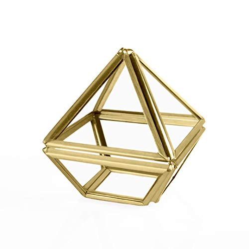 Koyal Wholesale Modern Gold Geometric Diamond Prism Glass Ring Box, Terrarium for Proposal, Engagement 2.36 Inch, Wedding Ceremony, Ring Bearer, Gift, Keepsake, Jewelry Organizer Holder Display Case