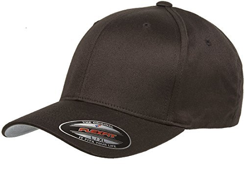 6277 Flexfit Wooly Combed Twill Cap,Brown,Adult XXL (7 3/8
