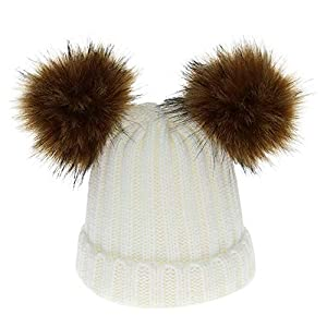 SKays Baby Beanie Winter Hat Knitted Hat Baby Toddler Hat Balls Warm Removable Copper Button Thickening Hat