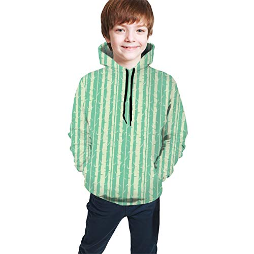 Teen Hooded Sweatshirts,Continuous Nature Themed Pattern with Tree Stems in Soft Tone Design M