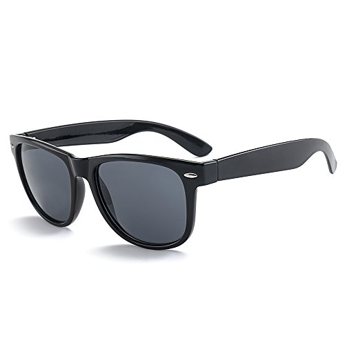 MRODM Polarized Wayfarer Sunglasses for Men Women with UV400 Smoke Lens 55mm