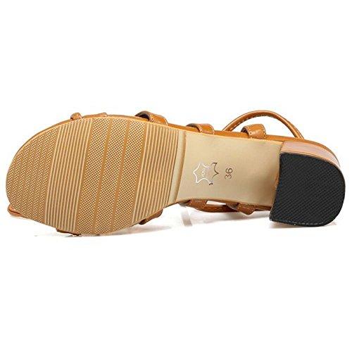 Et Talon Sandales Coolcept brun Carré Jaune De Dentelle Mode Femmes De x6f76qY0