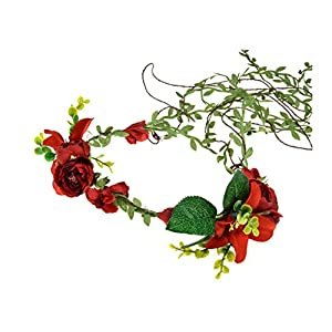 DDazzling Lily Flower Crown Tieback Halo Flower Crown Headband Photo Props (Red) 9