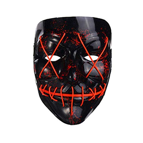 Tulas LED Light Up Flash EL Wire DJ Party Raver Scary Mask Halloween Costume Cosplay Masks -