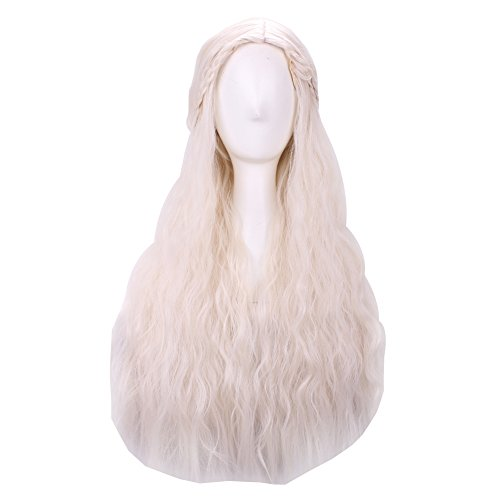 [Surker Daenerys Targaryen Mother of Dragons Cosplay Wig Blonde Hair] (Daenerys Targaryen Costume Hair)