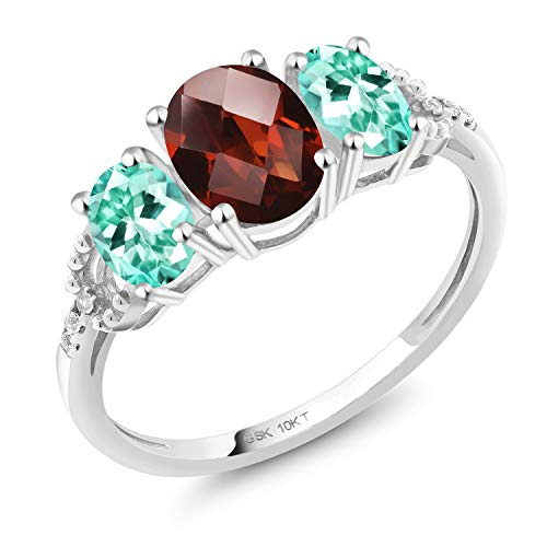 - Gem Stone King 2.07 Ct Oval Checkerboard Red Garnet Blue Apatite 10K White Gold Ring (Size 6)