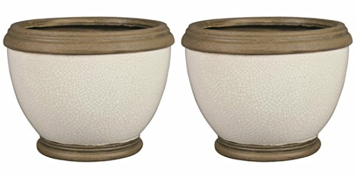 Ceramic Urn-Like Clay Pottery White Round Planter - with rubber pads, handmade, glossy - set of 2 (6 in.)