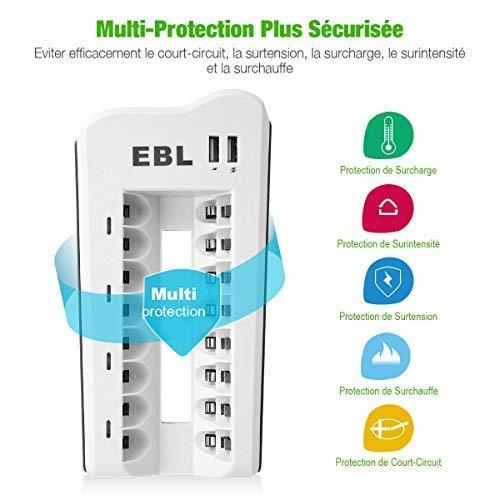 EBL 8PCS Piles Rechargeables AA 2800mAh+ Chargeur de Piles 8 Slots, avec 2 USB Ports pour Accus AA/AAA/Ni-CD/Ni-MH et Smartphone Tablette Rechargeable Rapide