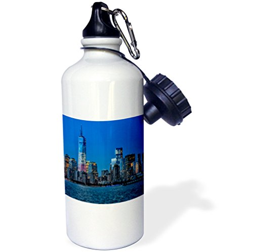 3dRose wb_154695_1 ''Freedom Tower at Sunset'' Sports Water Bottle, 21 oz, White by 3dRose