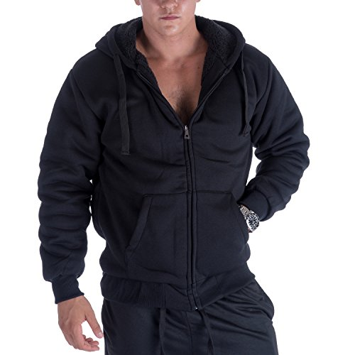 Heavyweight 1.8 lb Full-Zip Sherpa Lined Fleece Hoodies for Men Plus Sizes S - 5XL Men's Solid Jackets (XXL, Black)