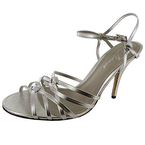 Delman Womens Ellie Leather Strappy Sandal Silver Sheepskin aZ47W