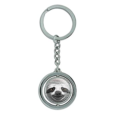 Graphics And More Sloth Face Spinning Round Metal Key Chain Keychain Ring - Sloth Key Chains