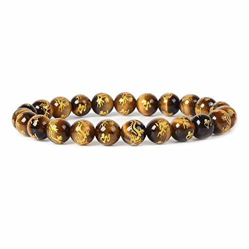 Gold Dragon Tiger Eye Gemstone 8mm Round Beads Stretch Bracelet 7