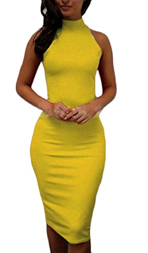 Sexy Bodycon Midi Women's Clubwear Sleeveless Halter Party Dress Jaycargogo Yellow xI5aUHwqU