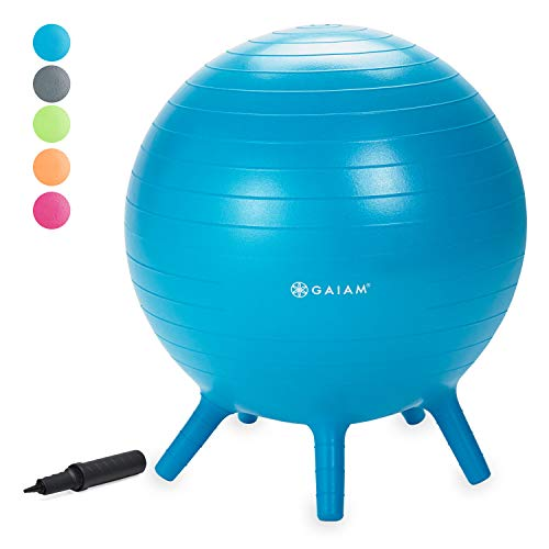 Gaiam Kids Stay-N-Play Children's Balance Ball - Flexible School Chair, Active Classroom Desk Seating with Stay-Put Stability Legs, Includes Air Pump, Blue, 45cm