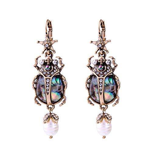 Chuiouy Natural Abalone Shell Earrings Freshwater Pearl Beetle Drop Earrings For Women