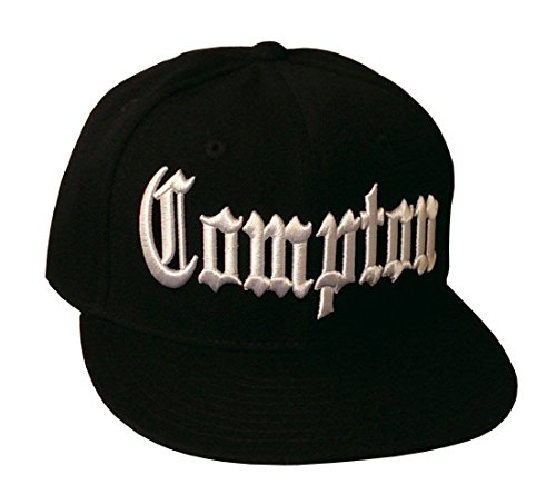 Compton Flat Bill Snapback Black Adjustable Baseball Cap]()