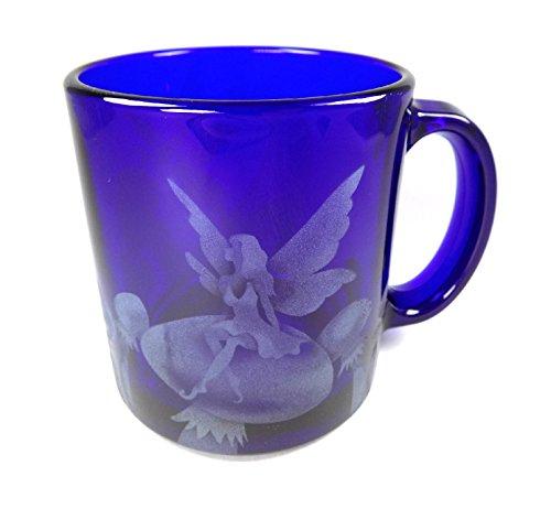 IncisoArt Hand Etched Coffee Mug Sandblasted (Sand Carved) Glass Handmade Engraved Fairy Mushroom (1, Cobalt Blue Fairy Mushroom) (Fairies Handmade)