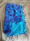 Medium Hand-Tied Fleece Pet Blanket (Blue Squares)