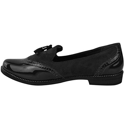 Mujer Vintage Borla Mocasines Planos Escuela Oficina Zapatos Zapatos Oxford Talla Ante Negro Charol