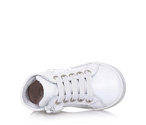 PANDA - Weißer Sneaker mit Schnürsenkeln, aus Leder, made in Italy, moderner Stil, seitlich ein Reißverschluss, Mädchen
