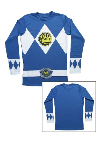 [The Power Rangers Long Sleeve Ranger Costume Blue T-shirt (Adult Large)] (Power Ranger Samurai Costumes)