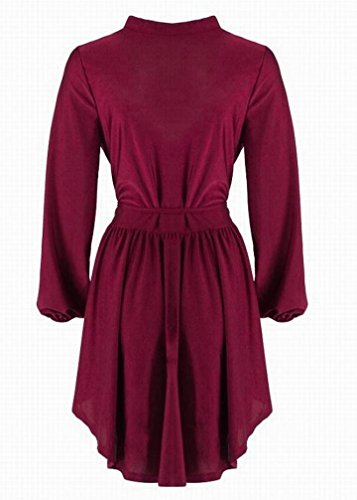 Womens V Deep Neck Dress Domple Asymmetric Wine Sexy Swing Red Mini Club Plunging SwfqxxdAIB