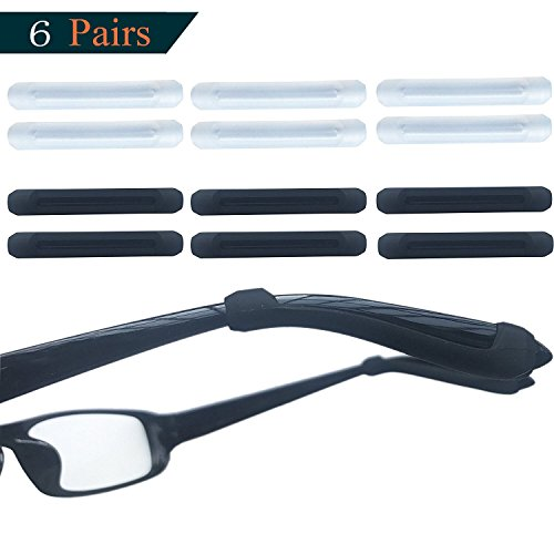 Fudun 6 Pairs Silicone Glasses Ear Hooks Sport Eyeglass Strap Holder Temple Tips Spectacle Retainers, Anti-Slip Elastic Comfort Sun Glasses Retainers, Black&Clear