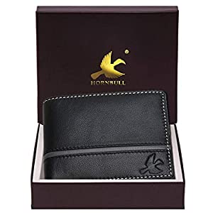 Hornbull Denial Black Mens Leather Wallet – Premium Quality Leather Wallet for Mens & RFID Blocking Genuine Leather Mens Wallet