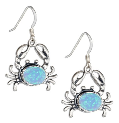 Sterling Concho - Sterling Silver Crab Concho with Synthetic Blue Opal Dangle Earrings