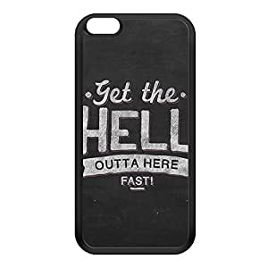Get the hell outta here Black Silicon Rubber Case for iPhone 6 Plus by UltraCases + FREE Crystal Clear Screen Protector
