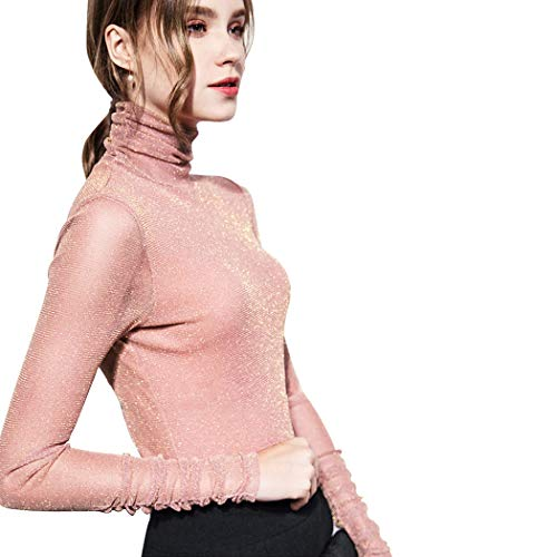 Fendou Women's Turtleneck Top Long Sleeve/Sleeveless Slim Fit Shirts Mesh Sheer See Through Casual Top
