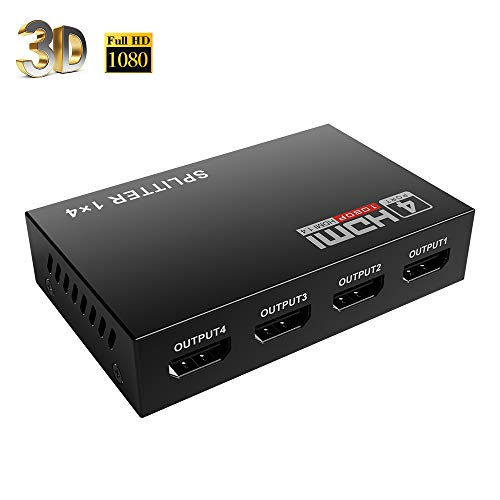 Mcscants HDMI Splitter 1 in 4 Out V1.4 Powered 1x4 Ports Box Supports Full Ultra HD 1080P 4K/2K and 3D Resolutions (1 Input to 4 Outputs)