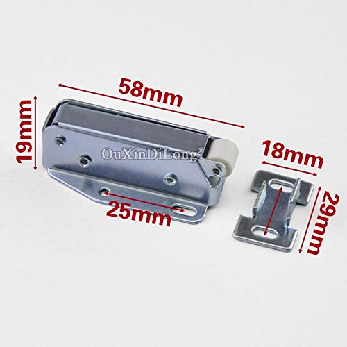 10PCS Spring Door Catches Touch Latch Catch for Cabinet Cupboard Wardrobe Door Press To Open Silver Tone by Kasuki (Image #4)