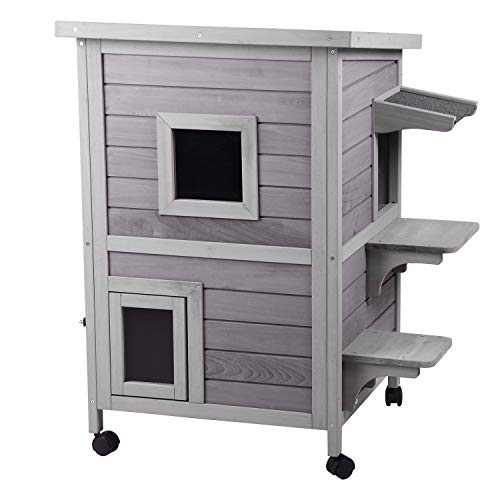 Aivituvin 2-Story Outdoor Cat House Indoor Wooden Kitty Condo with Escape Door – 4 Casters Included