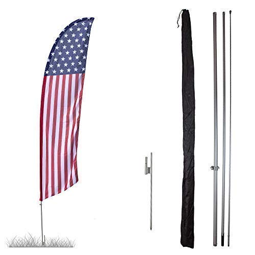 Vispronet Premium USA Stars and Stripes Feather Flag Kit - 13ft Swooper Flag with High-Wind Pole Set and Ground Spike - Printed in The USA
