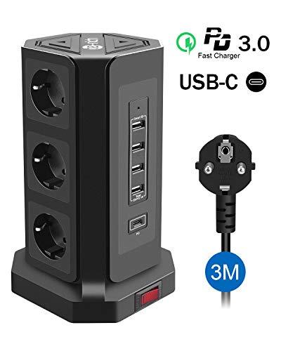 🥇 Te-Rich 18W Carga Rapida USB-C Enchufe Relgeta Vertical Torres Toma de Corriente 9 Regletas con 5 Puertos USB