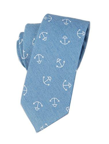 Men Blue White Party Self Cravat Ties Eco-friendly Adult Interview Neckwear (Adult Hey Sailor)