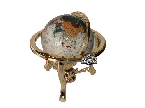Uniquea Art 13-Inch Tall Pearl Ocean Table Top Gemstone World Globe with Gold -