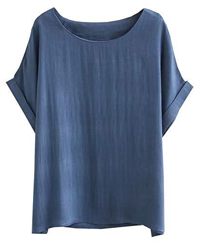 SCOFEEL Women's Summer Linen Tops Shirt Blouse Short Sleeve Plus Size Blue