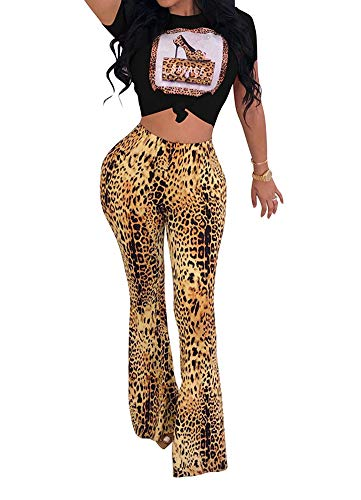 (Womens Sexy Leopard Print Short Sleeve Crop Top High Waist Flared Bell Bottom Pants Set Outfits Beaded Bodycon Long Trousers 2 Pieces Jumpsuit Cocktail Evening Party Romper Clubwear Black, Medium )