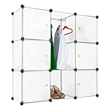 LANGRIA 9-Cube DIY Modular Shelving Storage Organizing Closet with Translucent Doors and Cube Design for Clothes, Shoes, Toys(White)