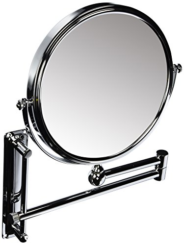 DANIELLE ADJUSTABLE HEIGHT, 2-SIDED WALL MOUNT EXTENDABLE MAKEUP MIRROR, 10X MAGNIFICATION, -