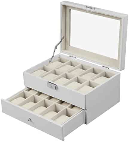SONGMICS 20 Watch Box Lockable Organizer Display Case with Glass Top White UJWB201