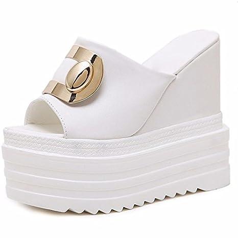 GTVERNH 8.5cm scarpe bianche sandali e pantofole con spessore basso pendio estate high heeled muffin bocca di pesce scarpe metallo fibbia…