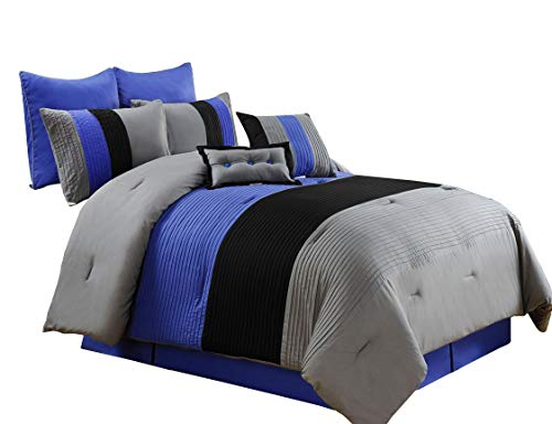 Chezmoi Collection 6 Pieces Luxury Striped Comforter Set (Twin, Gray/Black/Blue)
