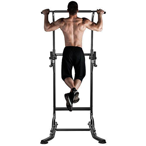 ONETWOFIT Multi-Function Power Tower Adjustable Height Home Fitness Workout Station Dip Stands Pull up Bar Push Up-Weight Capacity 330lbs OT084