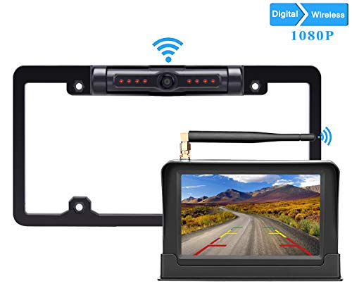 LeeKooLuu HD 1080P Digital Wireless Backup Camera 5'' Display High-Speed Observation System for Cars,RVs,Pickups,Trucks,Campers IP69 Waterproof License Plate Camera Front/Rear View Night Vision Clear