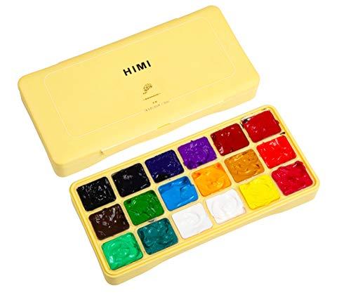 HIMI Gouache Paint Set Jelly Cup 18 Vibrant Colors Non Toxic Paints with Portable Case Palette for Artist Canvas…
